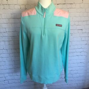 Vineyard Vines Aqua and Pink Pullover